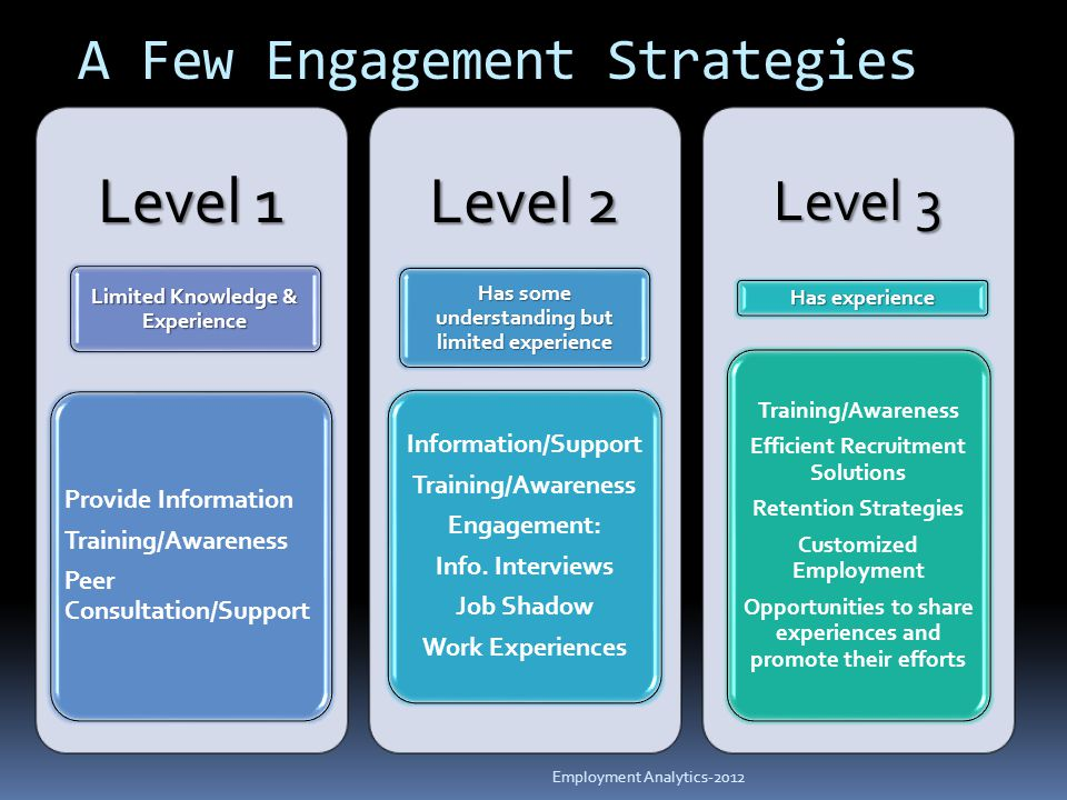 A Few Engagement Strategies Level 1 Limited Knowledge & Experience Provide Information Training/Awareness Peer Consultation/Support Level 2 Has some understanding but limited experience Information/Support Training/Awareness Engagement: Info.