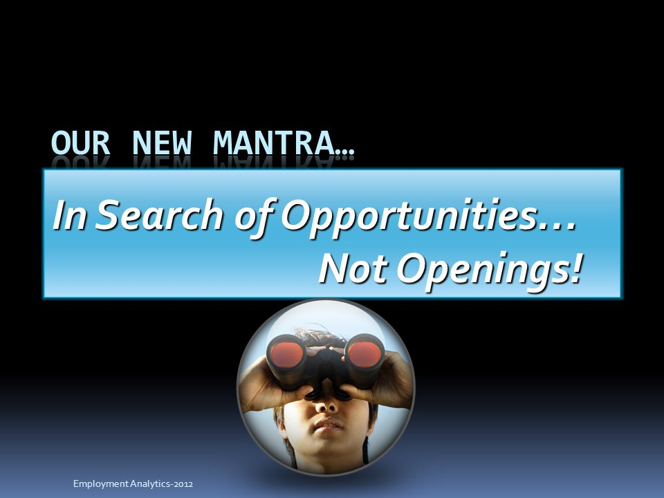 In Search of Opportunities… Not Openings! Employment Analytics-2012