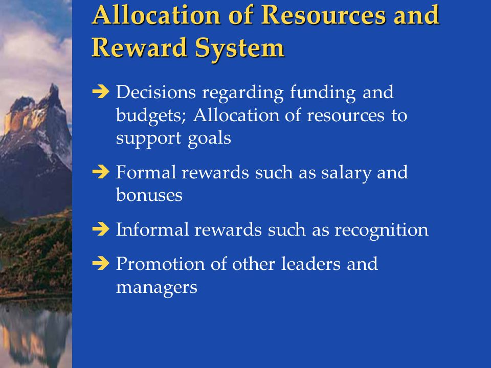 Allocation of Resources and Reward System  Decisions regarding funding and budgets; Allocation of resources to support goals  Formal rewards such as salary and bonuses  Informal rewards such as recognition  Promotion of other leaders and managers