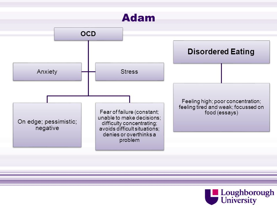 Adam OCD On edge; pessimistic; negative Fear of failure (constant; unable to make decisions; difficulty concentrating; avoids difficult situations; denies or overthinks a problem AnxietyStress Disordered Eating Feeling high; poor concentration; feeling tired and weak; focussed on food (essays)