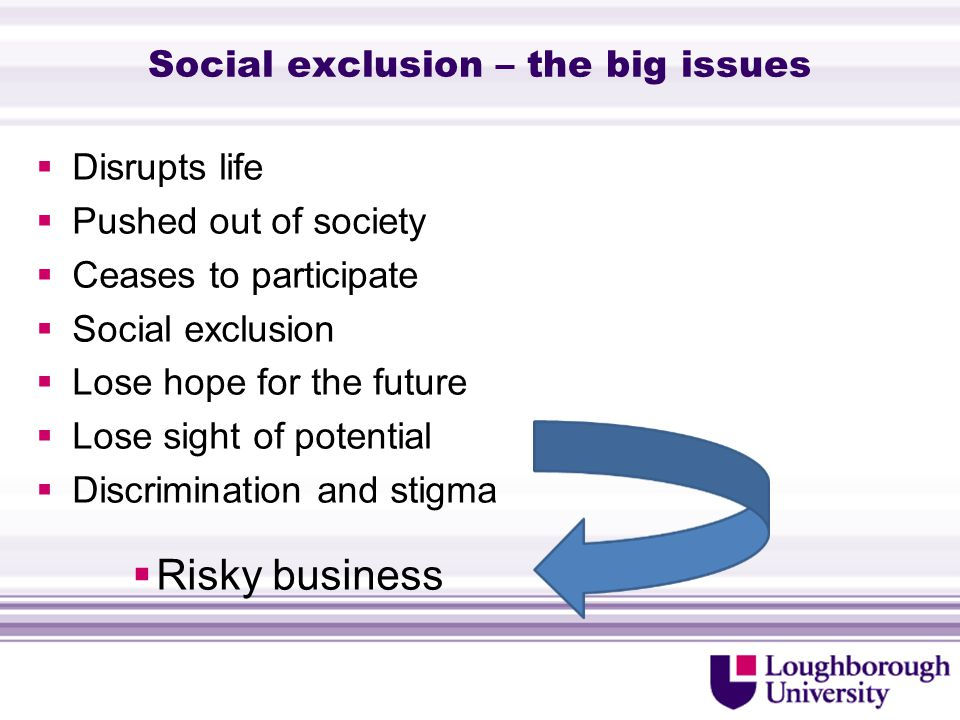 Social exclusion – the big issues  Disrupts life  Pushed out of society  Ceases to participate  Social exclusion  Lose hope for the future  Lose sight of potential  Discrimination and stigma  Risky business