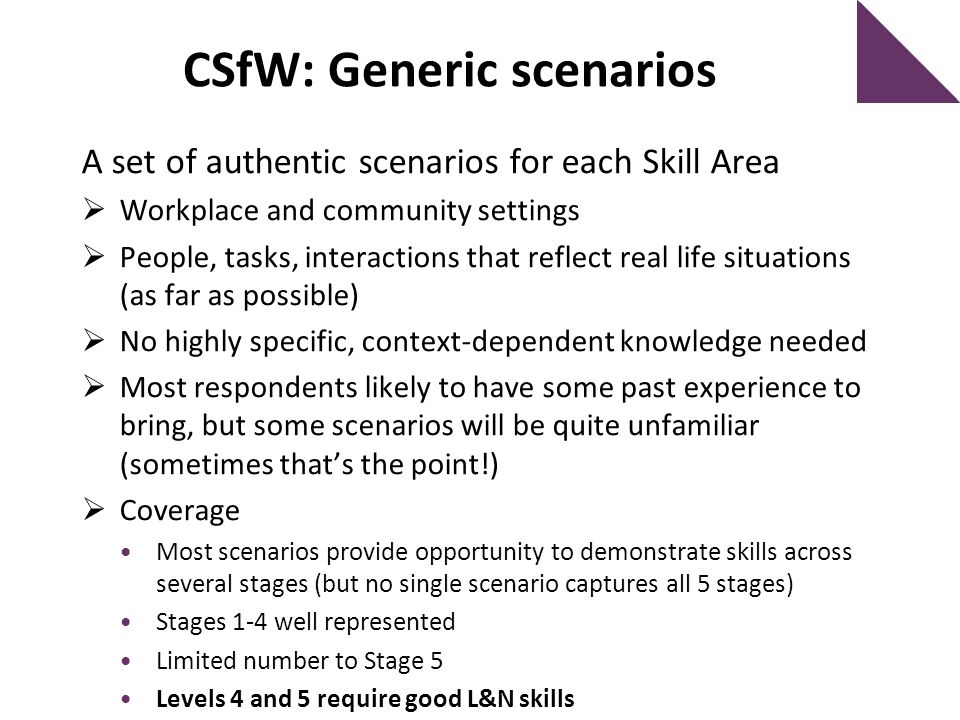 CSfW: Generic scenarios A set of authentic scenarios for each Skill Area  Workplace and community settings  People, tasks, interactions that reflect real life situations (as far as possible)  No highly specific, context-dependent knowledge needed  Most respondents likely to have some past experience to bring, but some scenarios will be quite unfamiliar (sometimes that's the point!)  Coverage Most scenarios provide opportunity to demonstrate skills across several stages (but no single scenario captures all 5 stages) Stages 1-4 well represented Limited number to Stage 5 Levels 4 and 5 require good L&N skills
