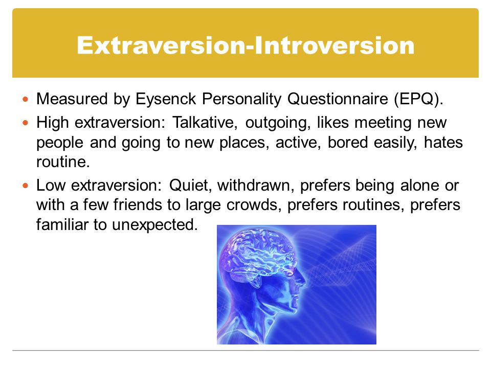 Extraversion-Introversion Eysenck's theory: Introverts have a higher level than extraverts of activity in the brain's ascending reticular activating system (ARAS).