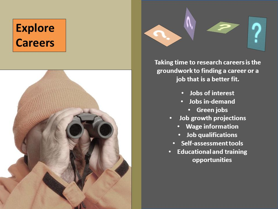 Explore Careers Taking time to research careers is the groundwork to finding a career or a job that is a better fit. Jobs of interest Jobs in-demand G