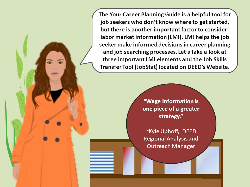 Labor Market Information The Your Career Planning Guide is a helpful tool for job seekers who don't know where to get started, but there is another important factor to consider: labor market information (LMI).