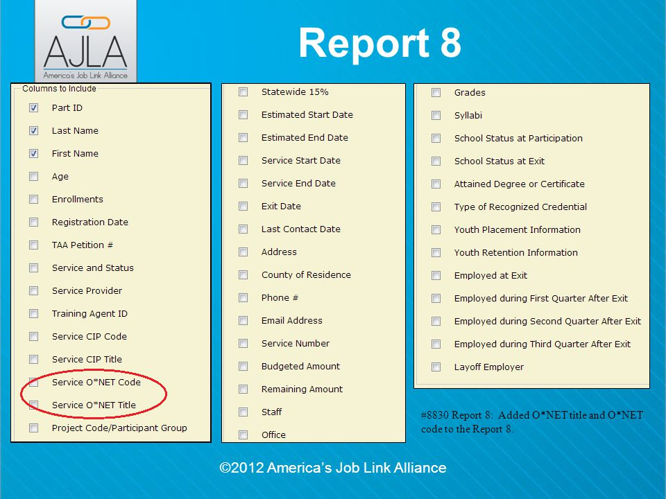 ©2012 America's Job Link Alliance Report 8 #8830 Report 8: Added O*NET title and O*NET code to the Report 8.