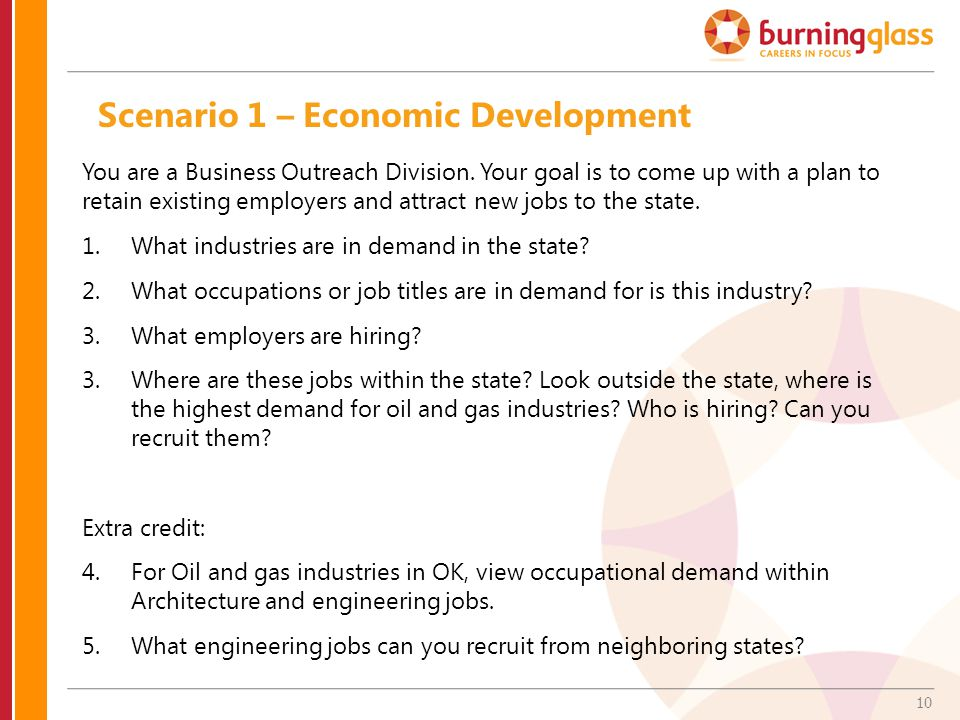 10 Scenario 1 – Economic Development You are a Business Outreach Division.