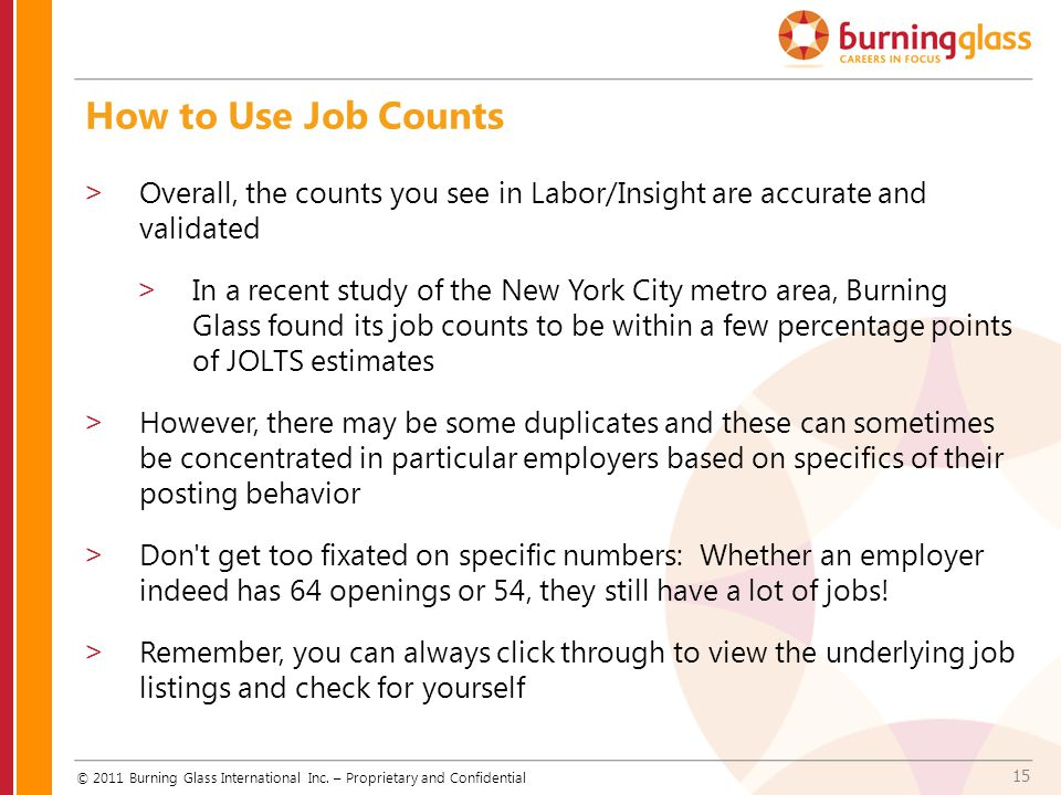 15 How to Use Job Counts © 2011 Burning Glass International Inc.