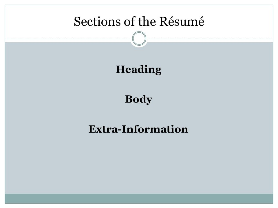 Sections of the Résumé Heading Body Extra-Information