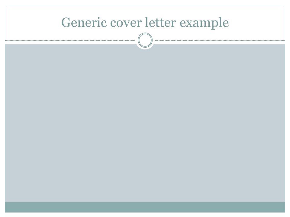 Generic cover letter example