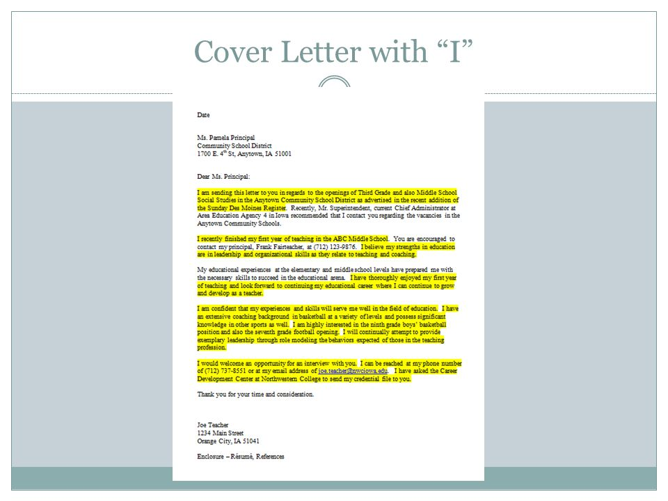 Cover Letter with I