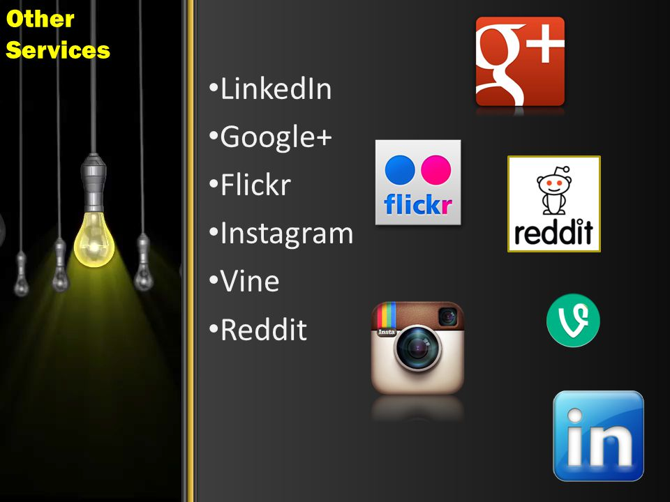 Other Services LinkedIn Google+ Flickr Instagram Vine Reddit