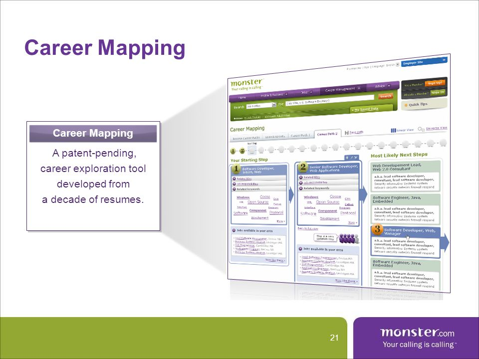 Career Mapping 21 Career Mapping A patent-pending, career exploration tool developed from a decade of resumes.