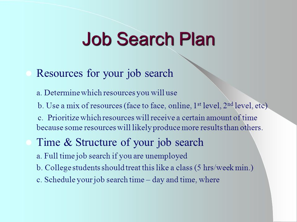 Job Search Plan Resources for your job search a. Determine which resources you will use b.