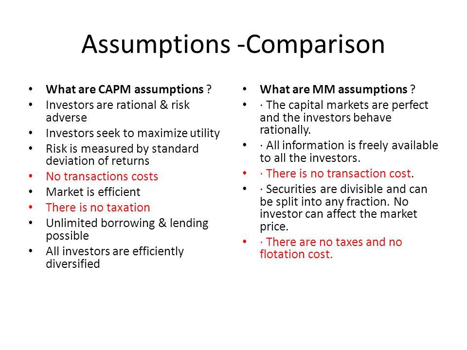 Assumptions -Comparison What are CAPM assumptions .