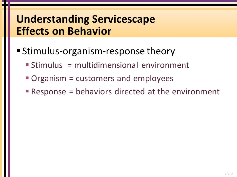 Understanding Servicescape Effects on Behavior  Stimulus-organism-response theory  Stimulus = multidimensional environment  Organism = customers an