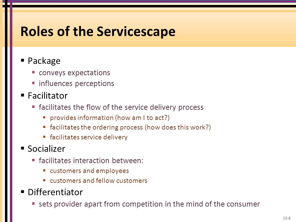 Roles of the Servicescape  Package  conveys expectations  influences perceptions  Facilitator  facilitates the flow of the service delivery proce
