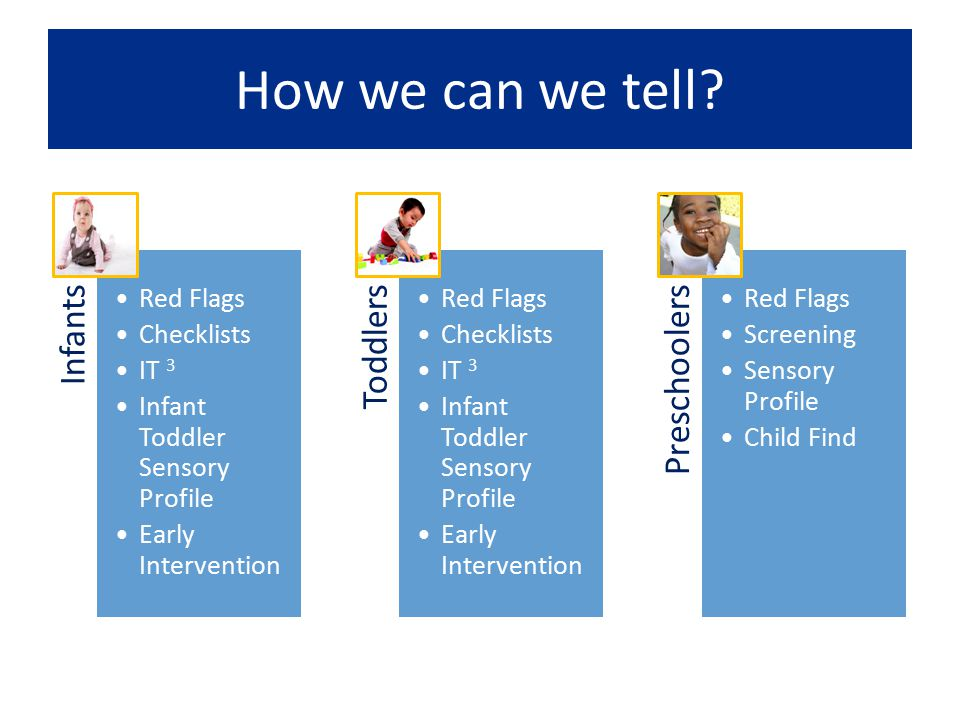 How we can we tell? Infants Red Flags Checklists IT 3 Infant Toddler Sensory Profile Early Intervention Toddlers Red Flags Checklists IT 3 Infant Todd