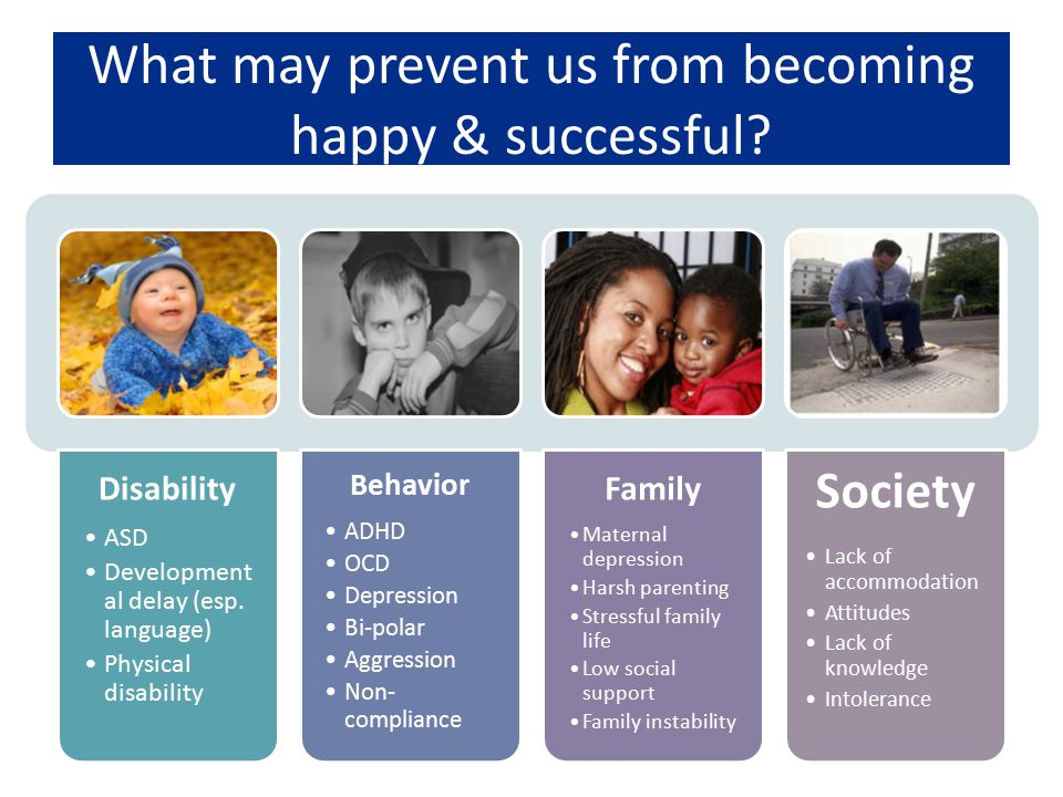 What may prevent us from becoming happy & successful? Disability ASD Development al delay (esp. language) Physical disability Behavior ADHD OCD Depres