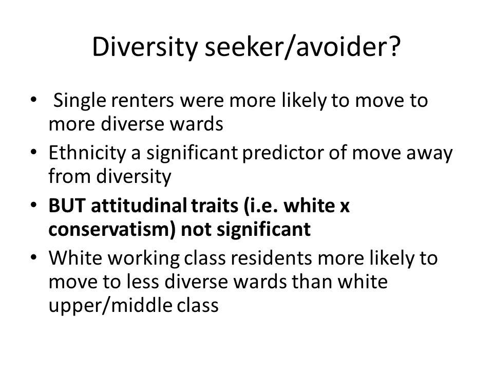 Diversity seeker/avoider.