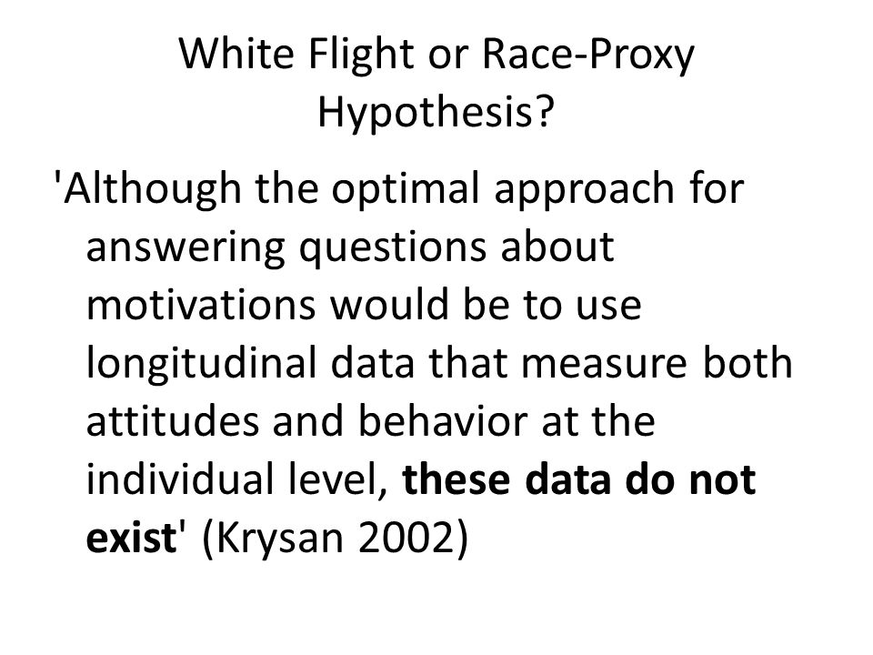 White Flight or Race-Proxy Hypothesis.