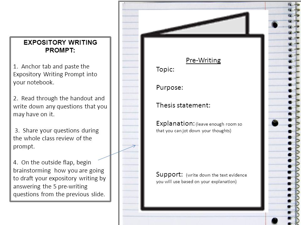 EXPOSITORY WRITING PROMPT: 1. Anchor tab and paste the Expository Writing Prompt into your notebook. 2. Read through the handout and write down any qu