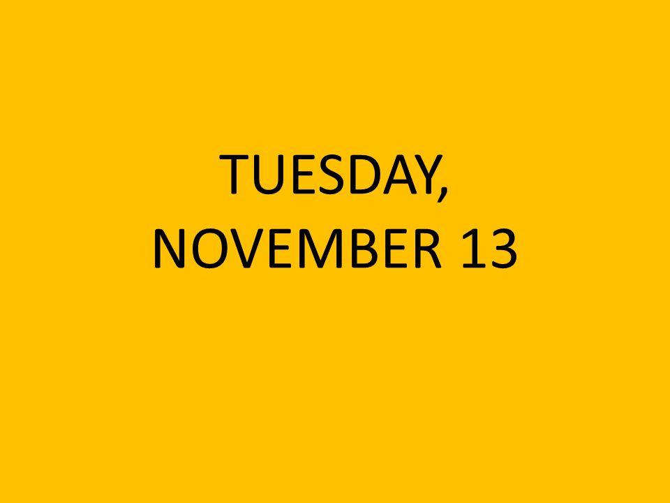 TUESDAY, NOVEMBER 13
