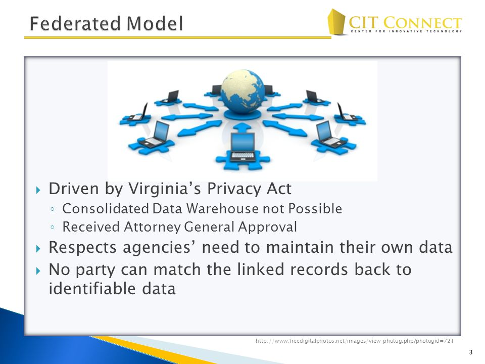  Driven by Virginia's Privacy Act ◦ Consolidated Data Warehouse not Possible ◦ Received Attorney General Approval  Respects agencies' need to maintain their own data  No party can match the linked records back to identifiable data 3 http://www.freedigitalphotos.net/images/view_photog.php photogid=721