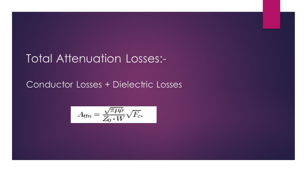Total Attenuation Losses:- Conductor Losses + Dielectric Losses