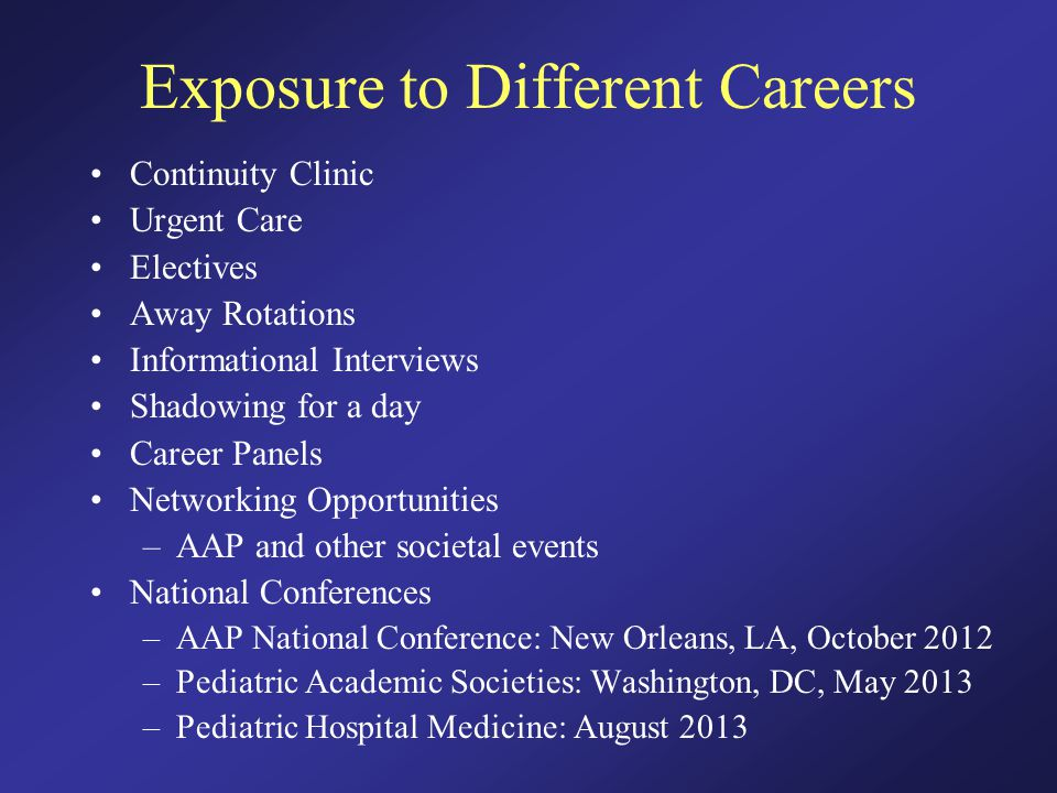 Exposure to Different Careers Continuity Clinic Urgent Care Electives Away Rotations Informational Interviews Shadowing for a day Career Panels Networking Opportunities –AAP and other societal events National Conferences –AAP National Conference: New Orleans, LA, October 2012 –Pediatric Academic Societies: Washington, DC, May 2013 –Pediatric Hospital Medicine: August 2013