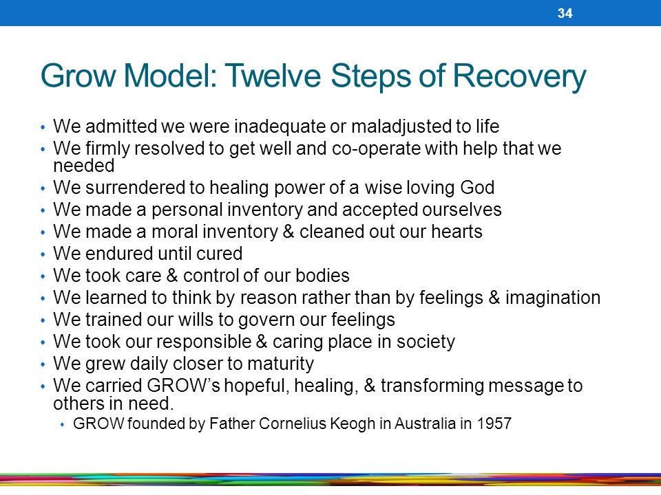 Grow Model: Twelve Steps of Recovery We admitted we were inadequate or maladjusted to life We firmly resolved to get well and co-operate with help that we needed We surrendered to healing power of a wise loving God We made a personal inventory and accepted ourselves We made a moral inventory & cleaned out our hearts We endured until cured We took care & control of our bodies We learned to think by reason rather than by feelings & imagination We trained our wills to govern our feelings We took our responsible & caring place in society We grew daily closer to maturity We carried GROW's hopeful, healing, & transforming message to others in need.