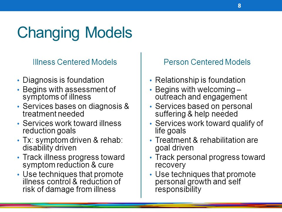 Changing Models Illness Centered Models Diagnosis is foundation Begins with assessment of symptoms of illness Services bases on diagnosis & treatment needed Services work toward illness reduction goals Tx: symptom driven & rehab: disability driven Track illness progress toward symptom reduction & cure Use techniques that promote illness control & reduction of risk of damage from illness Person Centered Models Relationship is foundation Begins with welcoming – outreach and engagement Services based on personal suffering & help needed Services work toward qualify of life goals Treatment & rehabilitation are goal driven Track personal progress toward recovery Use techniques that promote personal growth and self responsibility 8