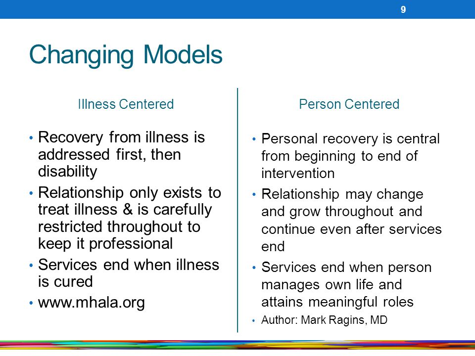 Changing Models Illness Centered Recovery from illness is addressed first, then disability Relationship only exists to treat illness & is carefully restricted throughout to keep it professional Services end when illness is cured www.mhala.org Person Centered Personal recovery is central from beginning to end of intervention Relationship may change and grow throughout and continue even after services end Services end when person manages own life and attains meaningful roles Author: Mark Ragins, MD 9