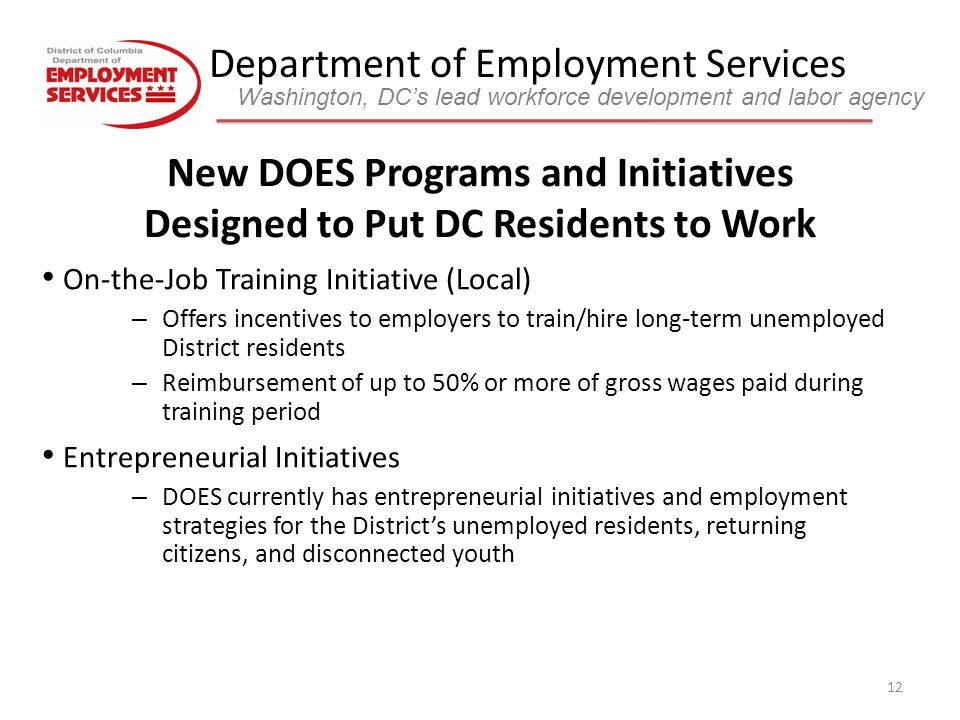 Department of Employment Services Washington, DC's lead workforce development and labor agency 12 On-the-Job Training Initiative (Local) – Offers incentives to employers to train/hire long-term unemployed District residents – Reimbursement of up to 50% or more of gross wages paid during training period Entrepreneurial Initiatives – DOES currently has entrepreneurial initiatives and employment strategies for the District's unemployed residents, returning citizens, and disconnected youth New DOES Programs and Initiatives Designed to Put DC Residents to Work
