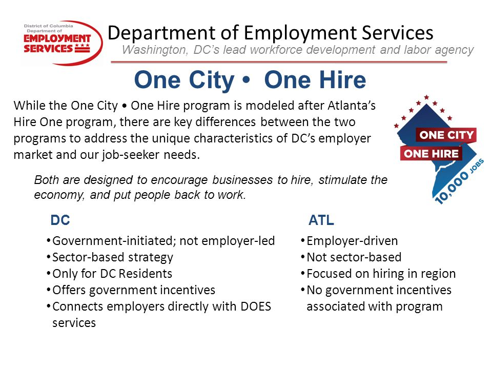 Department of Employment Services Washington, DC's lead workforce development and labor agency It s as Easy as 1-2-3 to hire pre-qualified DC residents and receive Tax Credits, Training Subsidies, or Wage Reimbursements.
