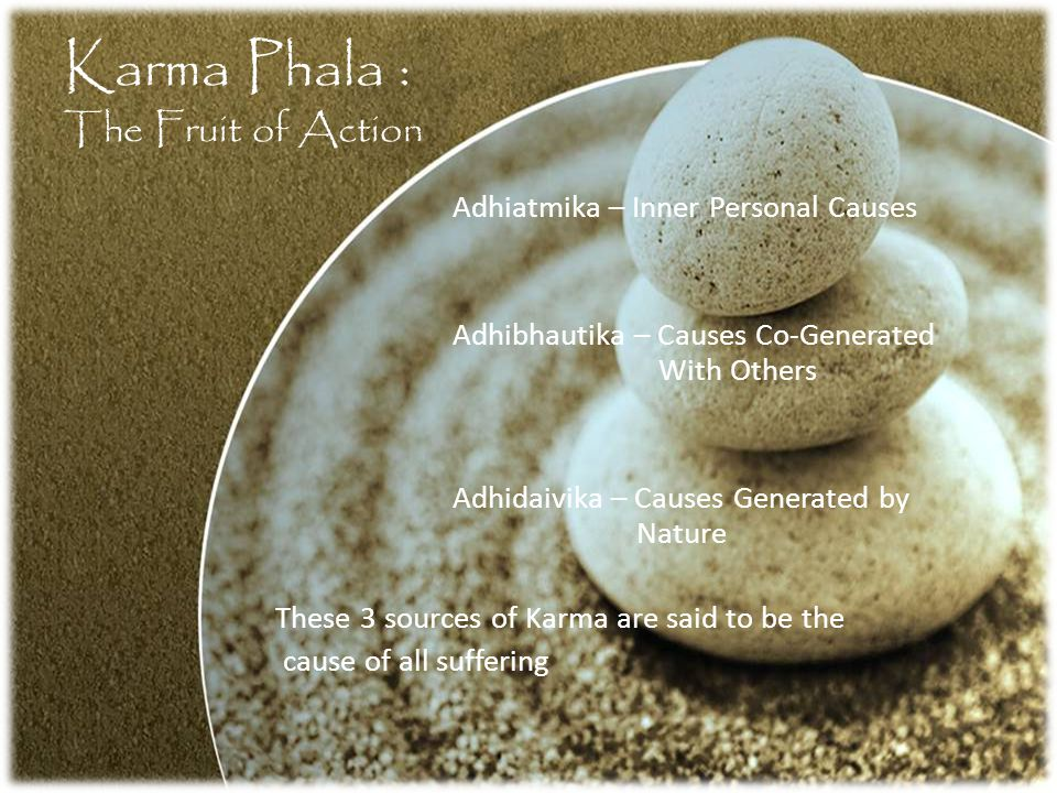 Karma Phala : The Fruit of Action Adhiatmika – Inner Personal Causes Adhibhautika – Causes Co-Generated With Others Adhidaivika – Causes Generated by Nature These 3 sources of Karma are said to be the cause of all suffering