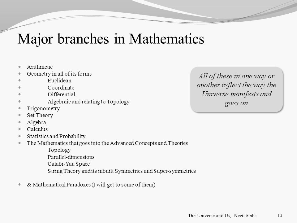 Major branches in Mathematics Arithmetic Geometry in all of its forms Euclidean Coordinate Differential Algebraic and relating to Topology Trigonometry Set Theory Algebra Calculus Statistics and Probability The Mathematics that goes into the Advanced Concepts and Theories Topology Parallel-dimensions Calabi-Yau Space String Theory and its inbuilt Symmetries and Super-symmetries & Mathematical Paradoxes (I will get to some of them) All of these in one way or another reflect the way the Universe manifests and goes on The Universe and Us, Neeti Sinha10
