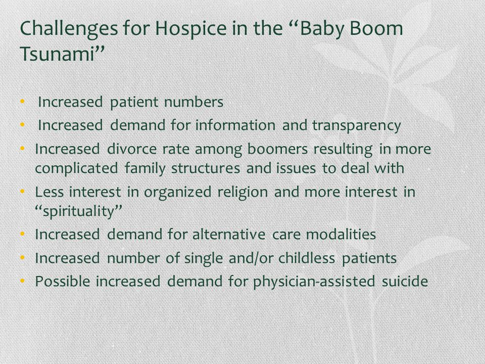 Challenges for Hospice in the Baby Boom Tsunami Increased patient numbers Increased demand for information and transparency Increased divorce rate among boomers resulting in more complicated family structures and issues to deal with Less interest in organized religion and more interest in spirituality Increased demand for alternative care modalities Increased number of single and/or childless patients Possible increased demand for physician-assisted suicide