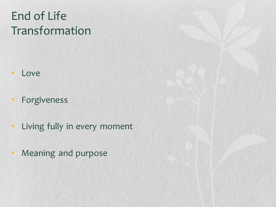 End of Life Transformation Love Forgiveness Living fully in every moment Meaning and purpose