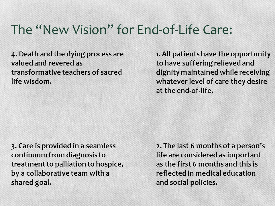 The New Vision for End-of-Life Care: 1.