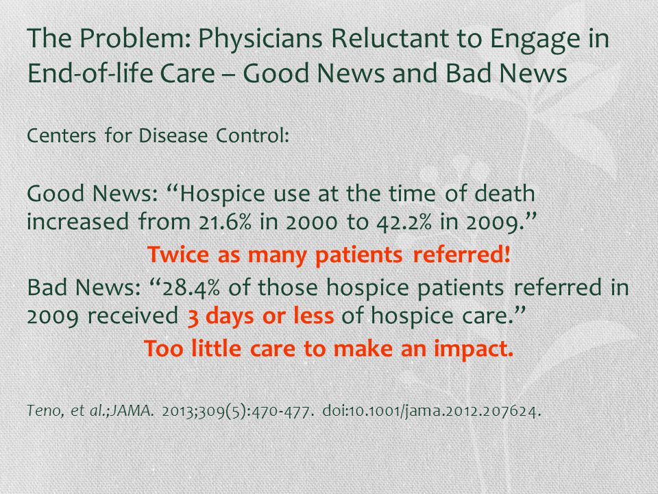 The Problem: Physicians Reluctant to Engage in End-of-life Care – Good News and Bad News Centers for Disease Control: Good News: Hospice use at the time of death increased from 21.6% in 2000 to 42.2% in 2009. Twice as many patients referred.
