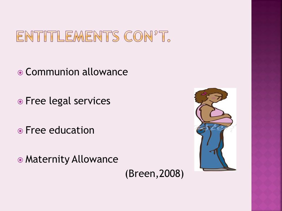  Communion allowance  Free legal services  Free education  Maternity Allowance (Breen,2008)
