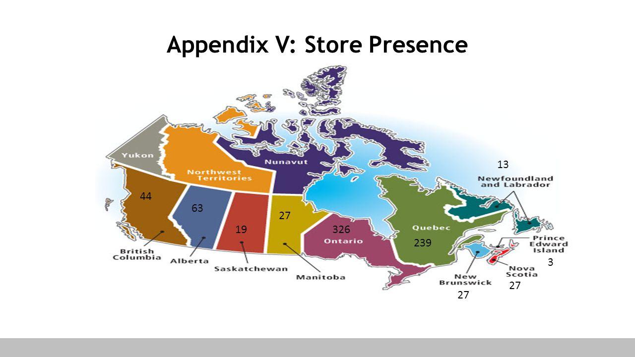 Appendix V: Store Presence 63 44 27 13 326 239 19 27 3