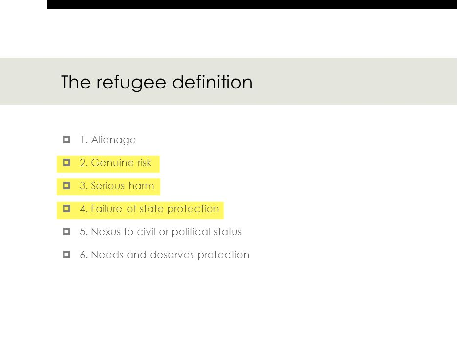 The refugee definition  1. Alienage  2. Genuine risk  3.