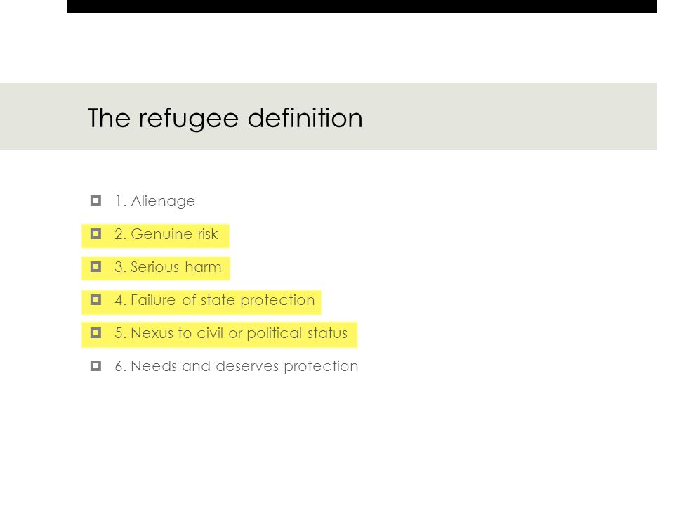 The refugee definition  1. Alienage  2. Genuine risk  3. Serious harm  4. Failure of state protection  5. Nexus to civil or political status  6.
