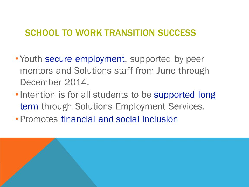 SCHOOL TO WORK TRANSITION SUCCESS Youth secure employment, supported by peer mentors and Solutions staff from June through December 2014.