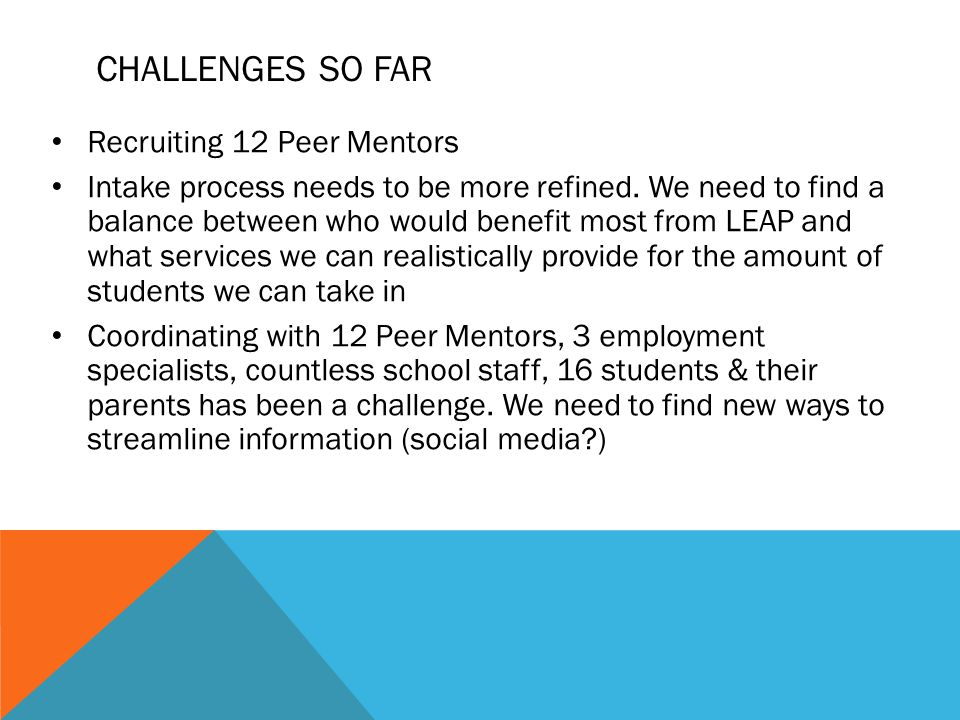 CHALLENGES SO FAR Recruiting 12 Peer Mentors Intake process needs to be more refined.