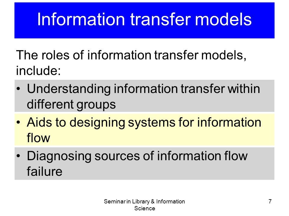 Information transfer models Seminar in Library & Information Science 7 The roles of information transfer models, include: Understanding information tr