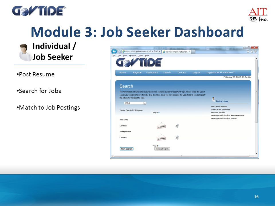 16 Individual / Job Seeker Post Resume Search for Jobs Match to Job Postings