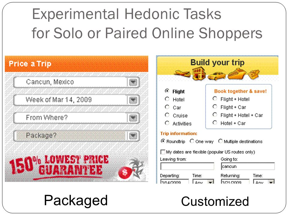 Experimental Hedonic Tasks for Solo or Paired Online Shoppers Packaged Customized